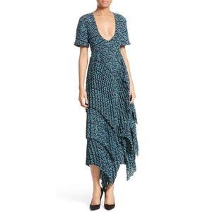 """A.L.C. """"Kylia"""" Blue Silk Pleated Midi Dress ~ Sz 2"""